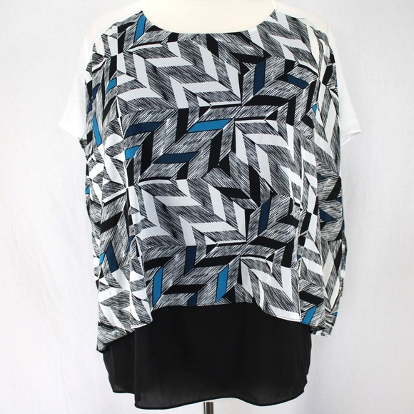 e73f190ac32ec1 Alfani Layered Blouse 16W Blue Black White Top. NWT